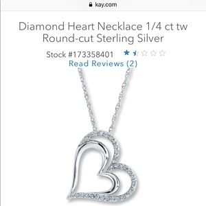 Double heart diamond necklace 1/4 ct